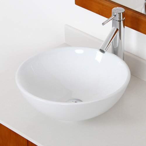 Elite Ceramic Round Bathroom Sink & Reviews Wayfair