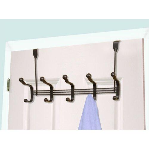 Home basics 5 hook over the door coat rack reviews wayfair for 12 hook over the door coat rack