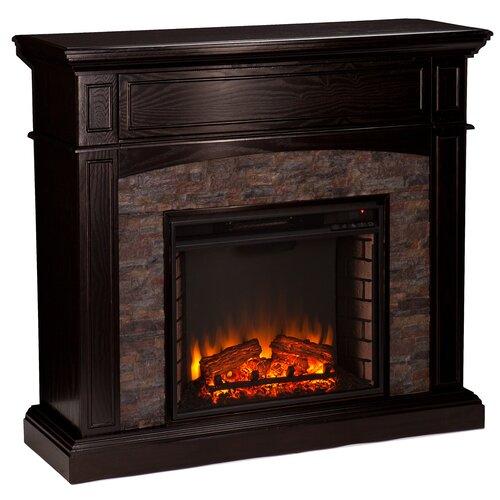 Three Posts Boston Faux Stone Corner Electric Fireplace