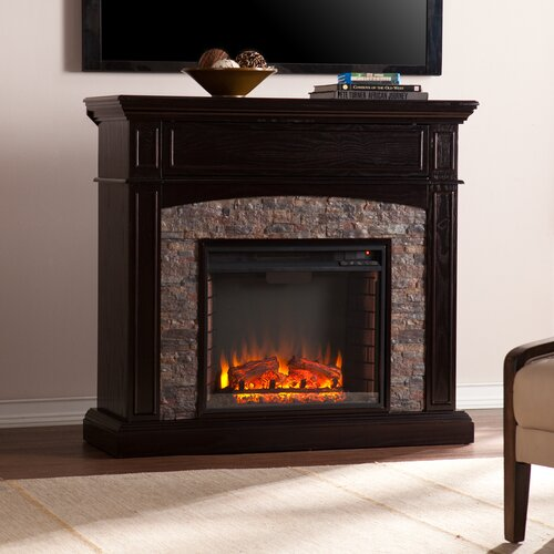 Three Posts Boston Faux Stone Corner Electric Fireplace