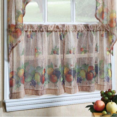 Dainty Home Kitchen Apple Curtain Set & Reviews   Wayfair