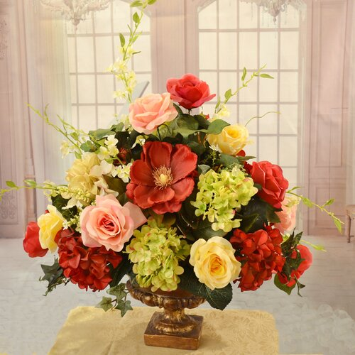 Flower Arrangements For Home Decor: Elegant Rose, Magnolia And Hydrangea Large Silk Flower
