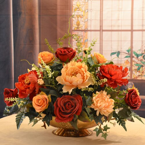 Rose And Peony Large Silk Flower Centerpiece By Floral Home Decor