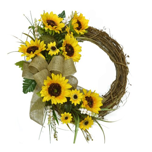 floral home decor 18 quot sunflower wreath amp reviews wayfair sunflower inspired home decor color yellow home decor