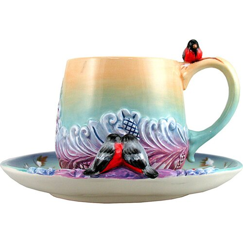 Birds Ceramic Cup and Saucer