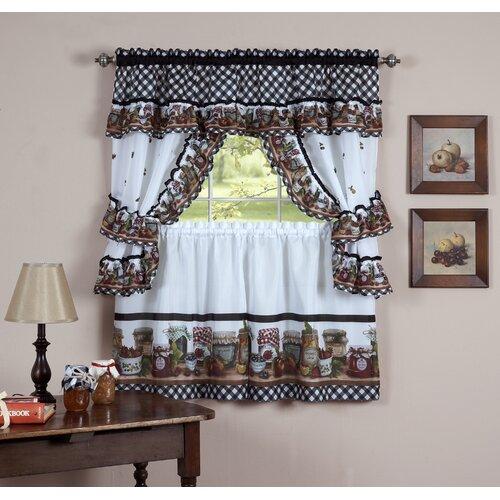 Hamilton 3 Piece Kitchen Curtain Set Available In 4: Sweet Home Collection Mason Jar Cottage Kitchen Curtain
