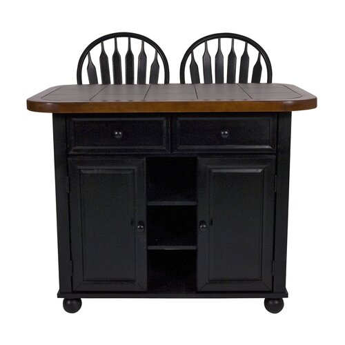 Sunset Selections Kitchen Island with Wood Top and Stools