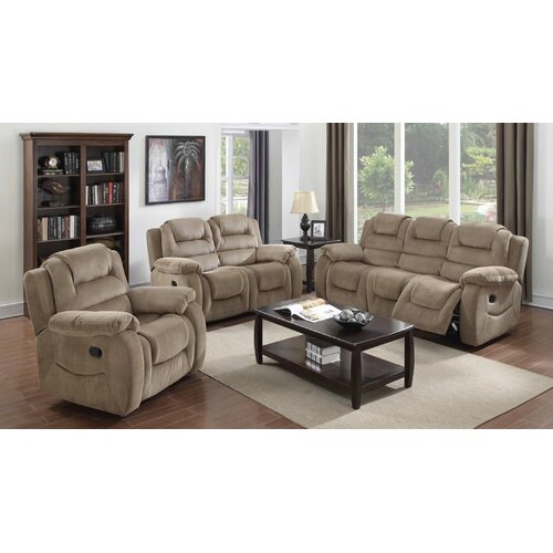 aspen 3 piece reclining living room set by sunset trading
