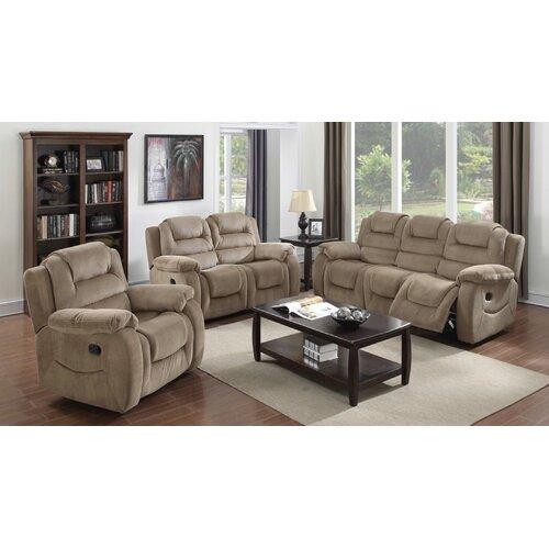 aspen 3 piece reclining living room set wayfair
