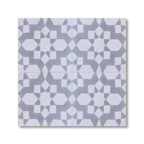 Affos 8 X 8 Handmade Cement Tile In White And Grey Wayfair