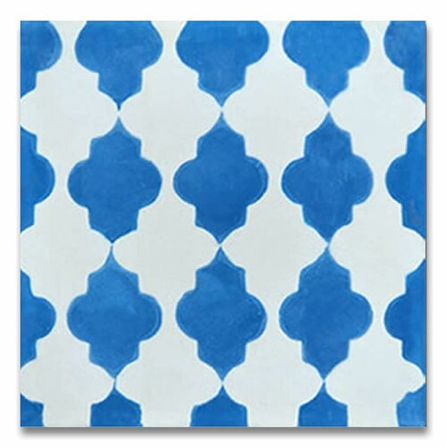 Tafraout 8 x 8 cement tile in blue and white wayfair for Blue and white cement tile