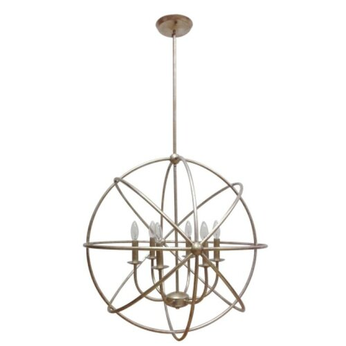 MarianaHome Industrial Orb 6 Light Foyer Pendant & Reviews