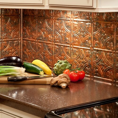 fasade traditional 1 x pvc backsplash panel in coppe