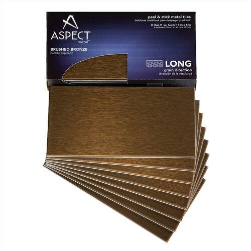 "Aspect Long Grain 6"" X 3"" Metal Tile In Brushed Bronze Kit"