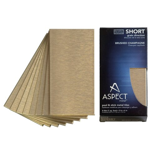 "Aspect Short Grain 6"" X 3"" Metal Tile In Brushed Champagne"