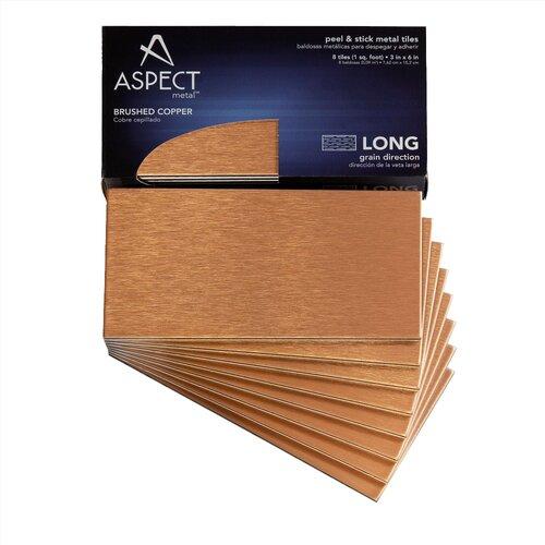"Aspect Long Grain 6"" X 3"" Metal Tile In Brushed Copper Kit"