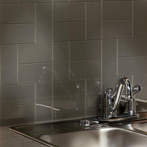 "Kitchen Backsplash Kit: Leather 6"" X 3"" Glass Subway Backsplash Tile Kit"