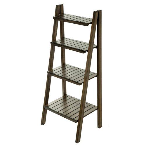 kouboo ladder with wicker baskets 39 accent shelves. Black Bedroom Furniture Sets. Home Design Ideas