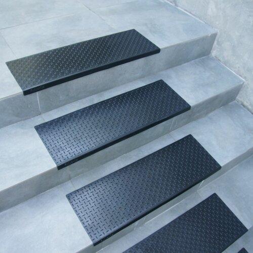 Quot Diamond Plate Quot Step Non Slip Rubber Stair Tread Mat Wayfair