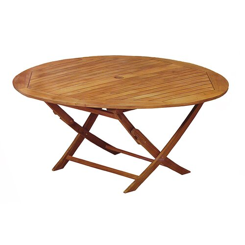 wood outdoor patio furniture round folding table reviews wayfair