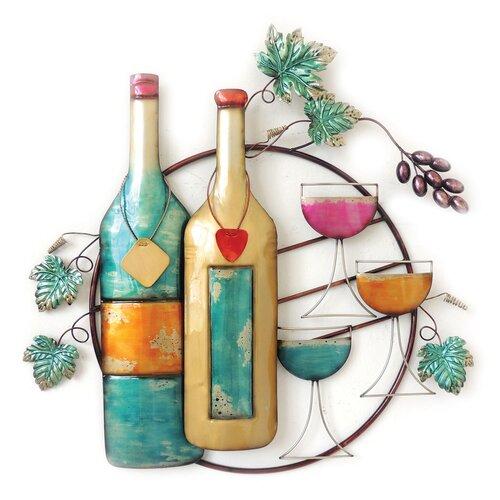 Wine bottles and glasses wall decor wayfair for Wall decor wine bottles