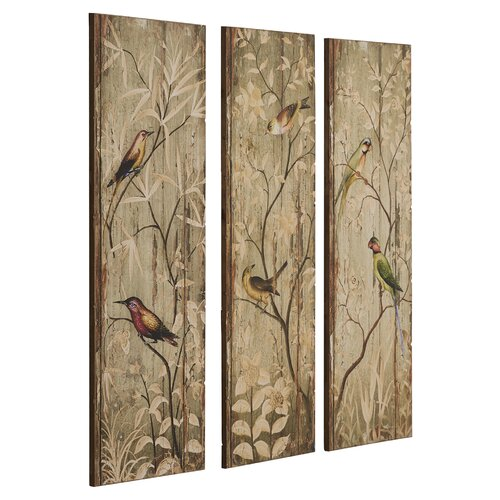Calima Bird Wall Decor   Set Of 3 : One allium way bird decor piece original painting plaque
