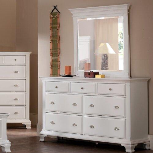 Roundhill Furniture Laveno 7 Drawer Dresser With Mirror