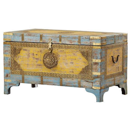Bungalow Rose Navya Wood Storage Bedroom Bench Reviews: Bungalow Rose Artifacts Nador Painted Brass Inlay Storage