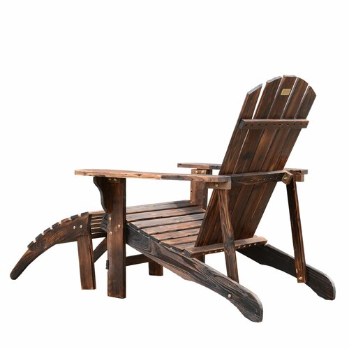 Outsunny Wooden Adirondack Outdoor Patio Lounge Chair & Reviews