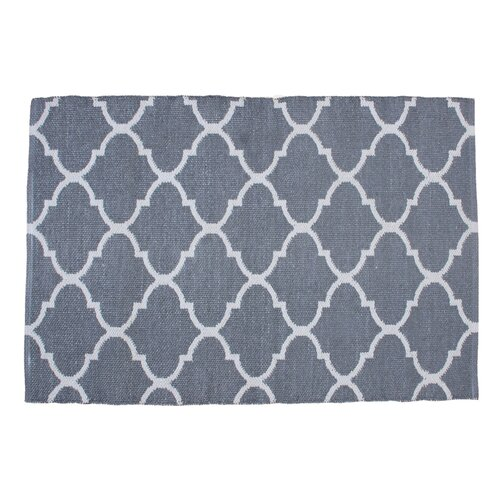 Lattice Hand Knotted Gray Indoor Outdoor Area Rug