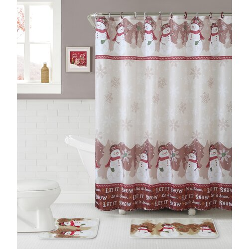 snowman 15 piece shower curtain set wayfair