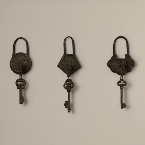 rosalind wheeler historic antique key 3 piece wall decor. Black Bedroom Furniture Sets. Home Design Ideas
