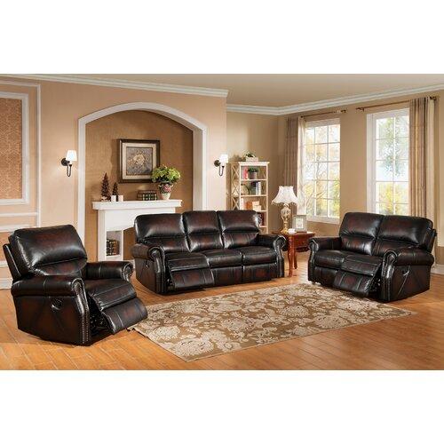 Nevada 3 piece leather living room set wayfair for Three piece leather living room set