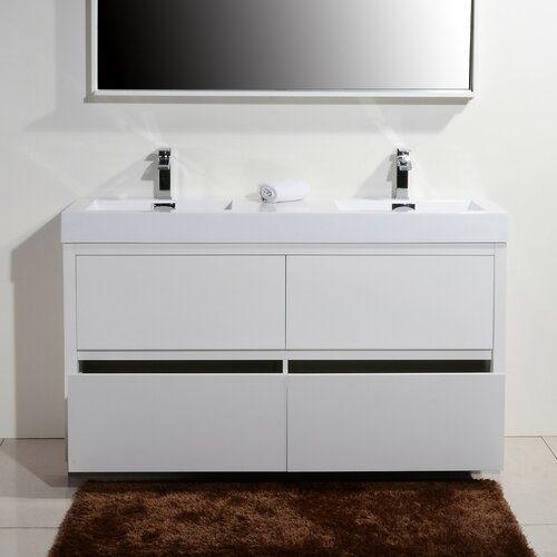 Bliss 60 Double Free Standing Modern Bathroom Vanity Set Wayfair