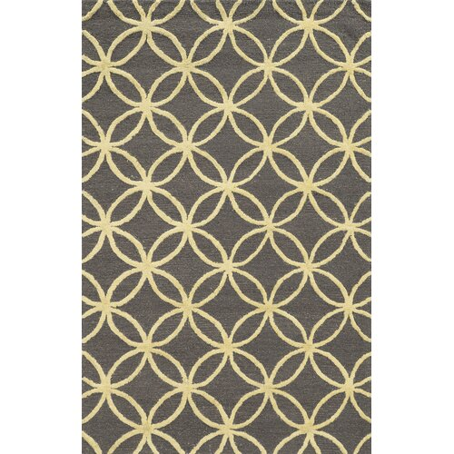 Falmouth Hand-Tufted Dark Grey/Yellow Area Rug by Meridian Rugmakers
