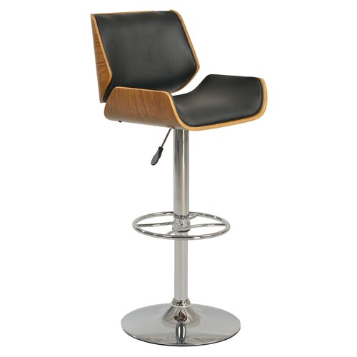 Adjustable Height Swivel Bar Stool with Cushion by Chintaly