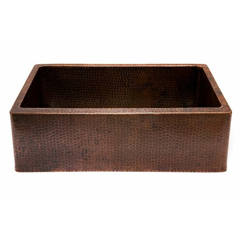 "Premier Copper Products 30"" X 22"" Hammered Single Bowl Farmhouse Kitchen Sink & Reviews"