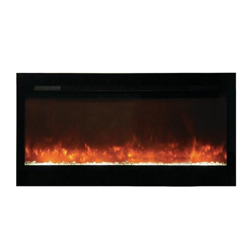 built in electric fireplace with glass face by yosemite home decor