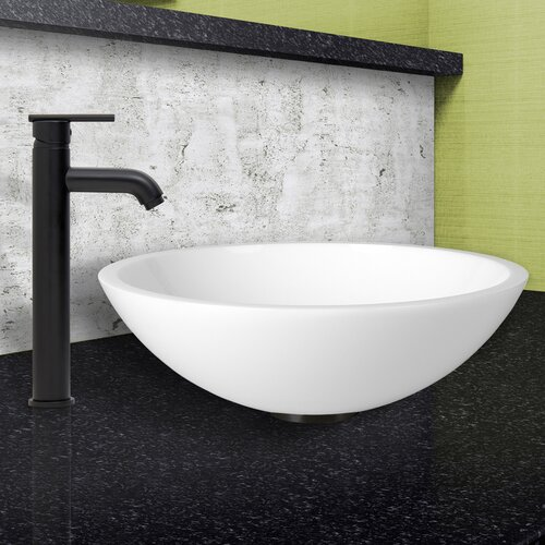 Flat Bathroom Sink : Flat Edged White Phoenix Stone Vessel Sink and Seville Vessel Faucet ...