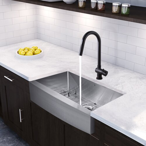 Black Farmhouse Kitchen Sink : inch Farmhouse Apron Single Bowl 16 Gauge Stainless Steel Kitchen Sink ...