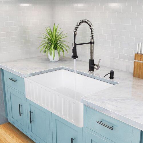 Vigo Camden Farmhouse Single Bowl Kitchen Sink: Vigo 30 Inch Farmhouse Apron Single Bowl Matte Stone