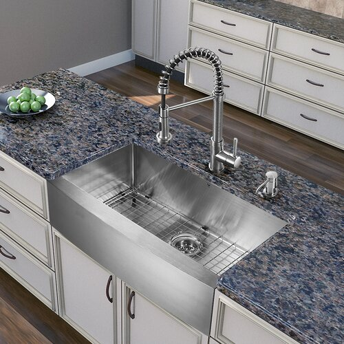 "Vigo All in e 30"" x 22 25"" Farmhouse Kitchen Sink and Faucet Set"