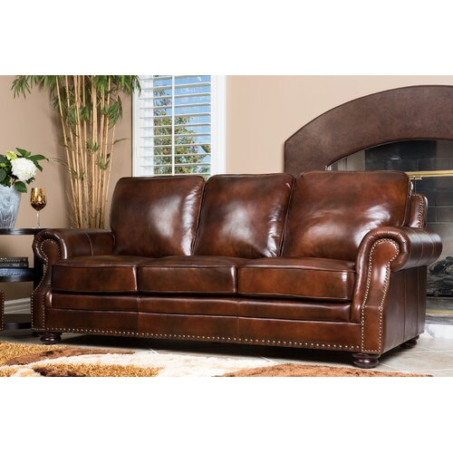 abbyson living karington leather sofa reviews wayfair