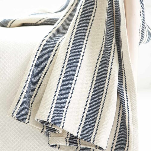 Dash and albert rugs awning stripe woven cotton throw for Dash and albert blankets