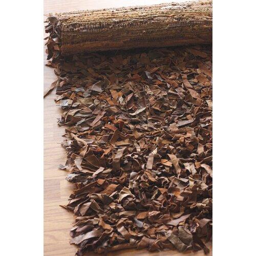 nuLOOM Leather Shag Dark Brown Area Rug