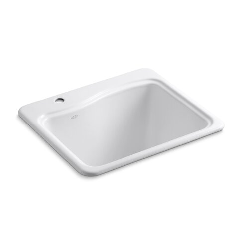 River Falls Top-Mount Utility Sink with Single Faucet Hole On Deck On Left Side by ...