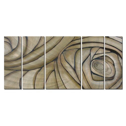 'Cerebral Spiral' by Janice Trane Jones 5 Piece Original Painting on Metal Plaque Set by ...