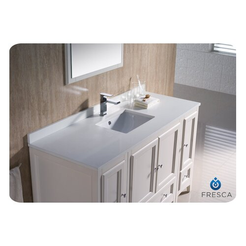 "Fresca Oxford 54"" Single Traditional Bathroom Vanity Set with Mirror"