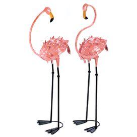 Flamboyant 2 Piece Flamingo Garden Stake Set