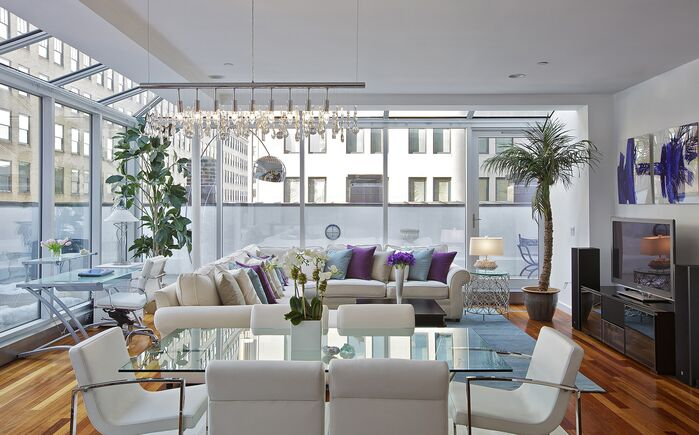 TOP INTERIOR DESIGNER: MARIE BURGOS tribeca penthouse living room  dining room